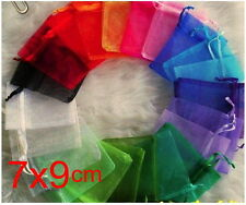 100pcs 7x9cm Pure mix Christmas Jewlery packing Wedding Organza voile gift bags