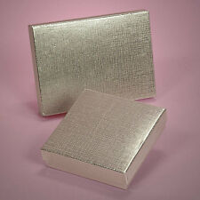 "6 Silver Linen Invitation Box 7.37"" x 5.5"" Wedding Party Jewelry Gift Boxes"