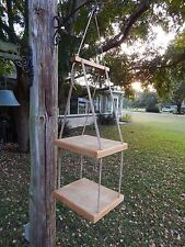 Retro Mid Century Rustic WOOD HANGING TABLE FLOATING SHELF 2-TIER Woven Strap