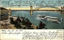 BONN Rhein Schiff Dampfer a.d. Brücke 1904 gelaufen nach Oschersleben A-Stempel