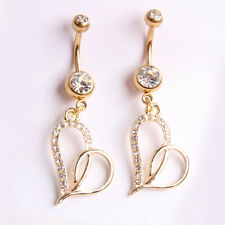 NEW Heart-Shaped Gold Plated Cute Nail Navel Ring Belly Button