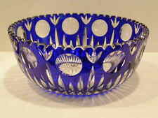 PRISTINE COBALT CUT TO CLEAR CRYSTAL CUT GLASS CENTER BOWL