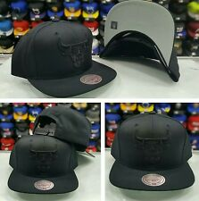NBA Chicago Bulls Black On Black Mitchell and Ness Snapback  Hat