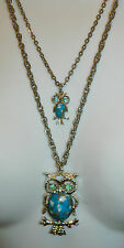 Vintage Faux Turquoise Rhinestone Mother Baby Owls Double Chain Necklace