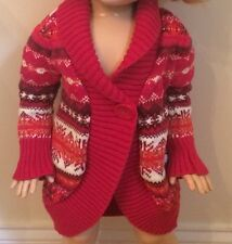 Baby GAP Girls 12-18 Months Fair Isle Nordic Pink Long Sweater Coat Winter