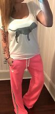 Victoria Secret Pink Bling Glitter Dog Tee Shirt VS Boyfriend Sweatpants Set S