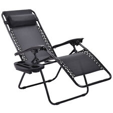 Black W/Cup Holder 2PC Zero Gravity Chairs Lounge Patio Folding Recliner Outdoor