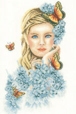 Cross Stitch Kit ~ Lanarte Romance Lovely Woman w/Yellow Butterflies #PN-0156299