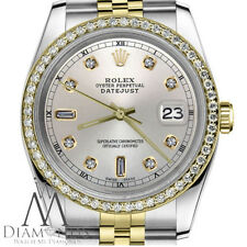 Ladies Rolex 36mm Datejust 2 Tone Silver Color Dial with 8+2 Diamond Accent