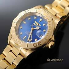 Invicta Pro Diver Automatic 18k Gold Plated SS 40mm Blue Dial 200m WR Dive Watch