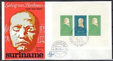 Suriname - 1970 Child welfare / Beethoven miniature shee- Clean unaddressed FDC!