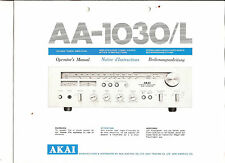 Bedienungsanleitung Notice d ´emploi Handbook of Instruction Akai AA-11030/L