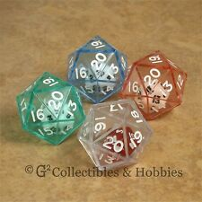NEW Set of 4 DOUBLE DICE D20 RPG Game Math Twenty Sided