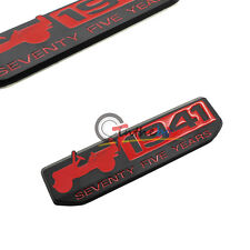 (1) Red 75 Year 1941 Anniversary Metal Emblem Badge for Jeep Wrangler CHEROKEE