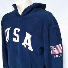 VTG Polo Ralph Lauren USA Fleece Hoodie Sweatshirt 90s Snow Beach Stadium Medium