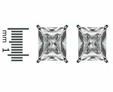 Emerald Cut Clear Cubic Zirconia Center Martini Post Stud Earrings 12MM OF BLING
