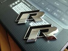 2X BLACK R METAL WING BADGE Emblem Sticker Decal VOLKSWAGEN VW GOLF PASSAT GTI