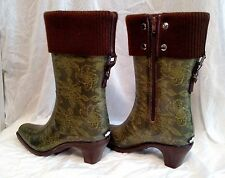 DAV Green Lace Patterned Rain Boots Brown Knit Foldover Top LARGE 8 - 8.5