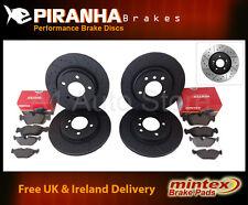 Golf 2.8 V6 4Motion 00-01 Front Rear Brake Discs Black DimpledGrooved Mintex Pad