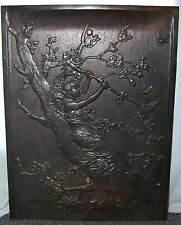 """Antique Art Nouveau """"LADY IN A TREE"""" Cast Iron Summer Fireplace Cover Screen"""
