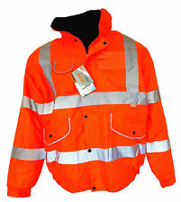 MEN'S HI VIZ WATERPROOF ORANGE REFLECTIVE SECURITY WORK COAT JACKET SIZE M