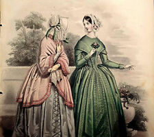 LE FOLLET 1845 Hand-Colored Fashion Plate #1248 Toilettes de Ville PRINT