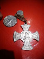 2 Anciennes Croix Aluminium Vive Jésus Marie Joseph et Prière contre le Peché