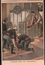 POMPIERS ACCIDENT ASCENSEUR CONCIERGE CHABROUX PARIS ILLUSTRATION 1899