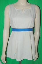 Vintage 1970's Womens Tennis Outfit Scooter Romper Skirt White Blue Belt Sports