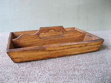 Antique Knife Box Cutlery Tray Primitive Country, Oak Wood Tote, 2 Sections