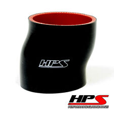 """HPS 4-ply 3.5"""" ID x 3"""" Long Silicone Offset Coupler Hose Black 89mm x 76mm"""