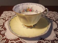 Stunning Shelley Footed  Dainty Cup and Saucer Lemon Yellow 'Crochet' 13950/S39