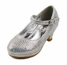 JR Youth Little Girls Pageant Jewel Stone Mary Jane High Heel Dress Shoes NEW
