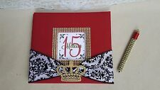 Custom Guest Book Set- Royal crown birthday Quinceanera princess queen red gold