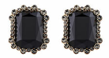 CLIP ON EARRINGS gold plated luxury earring with crystals & black stone - Bea