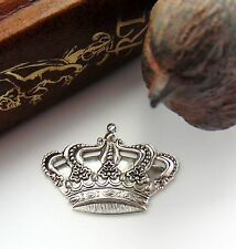 ANTIQUE SILVER (2 Pieces) Crown Stamping ~ Jewelry Ornament Finding (FA-6085)