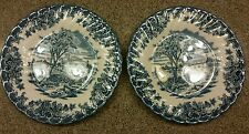 2 Blue And White Salad Plates Queen's China Farm House Trees Swirl Border Brook