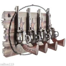 Four Pistols Western Coat Rack Hook set Farm House Ranch Home Decor