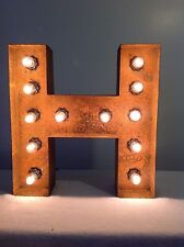 "New Rustic Metal Letter H Light Marquee: Sign Wall Decoration 12"" Vintage"