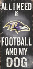 Baltimore Ravens Football and Dog Wood Sign [NEW] NCAA Man Cave Den Wall