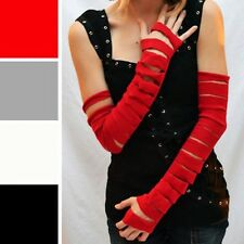 1014 Red Slashed Cut Out Cotton Arm Warmers Burning Mummy Gloves Costume Man Diy
