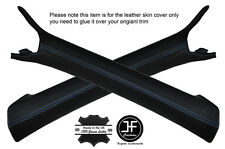BLUE STITCHING 2X A POST PILLAR LEATHER COVERS FITS AUDI A5 COUPE 07-14