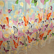 Hot Floral Butterfly Curtains Sheers Voile Tulle Window Curtain 100x200cm