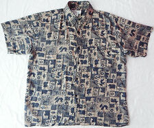 Washable Silk Animal Print Short Sleeve Casual Shirt - Mens Large Black Cool L