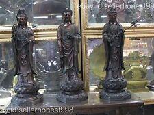 Chinese Temple Hall joss Sakyamuni Kwan-Yin Three Buddha Bodhisattva group