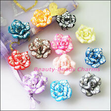 12Pcs Mixed Handmade Polymer Fimo Clay Lotus Flower Spacer Beads Charms 15mm