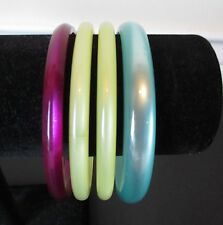 Vintage LOT 4 Spacer Bangle Bracelet Plastic Lucite MOONGLOW Blue Green Purple