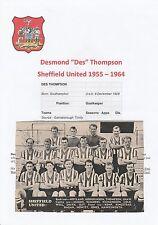 Des Thompson / Cliff MASON Sheffield United mano originale firmato PICTURE
