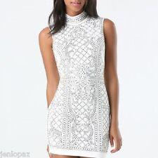 NWT bebe whtie cream studded embellished mock neck quilt top dress L large 10
