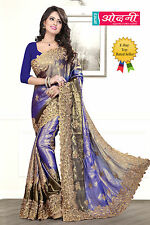 Indian Bollywood Embroidered Sari Navy Blue Beige Satin Chiffon Party Wear Saree